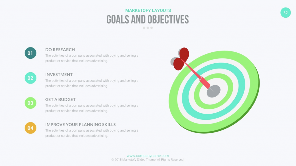 Marketofy Business Template Goals & Objectives Slide
