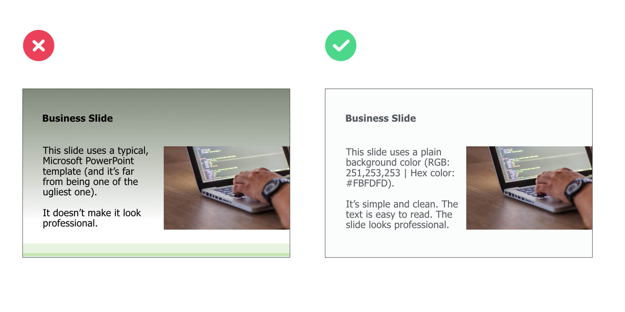 Use Plain Slide Backgrounds