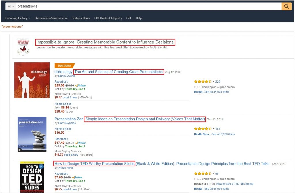 how to look for headline examples on amazon